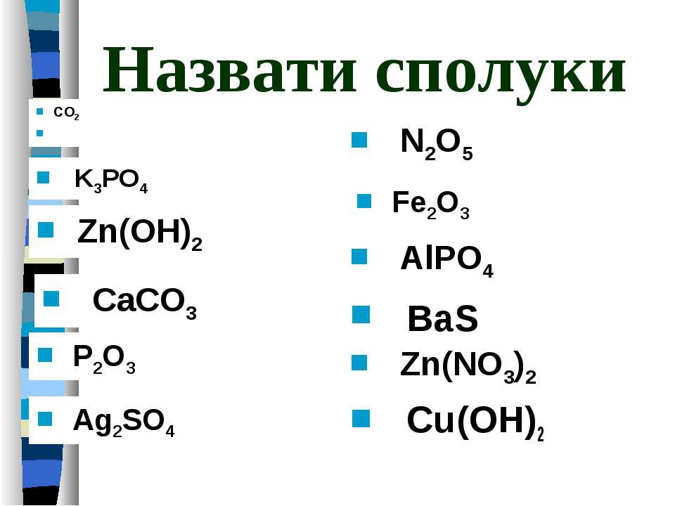 Назвати сполуки Cu(OH)2 K3PO4 Zn(OH)2 CO2 P2O3 Ag2SO4 N2O5 Fe2O3 AlPO4 CaCO3 ...
