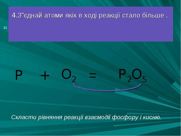 """= 4.З""""єднай атоми якіх в ході реакції стало більше . P O2 + P2O5 * Скласти рі..."""