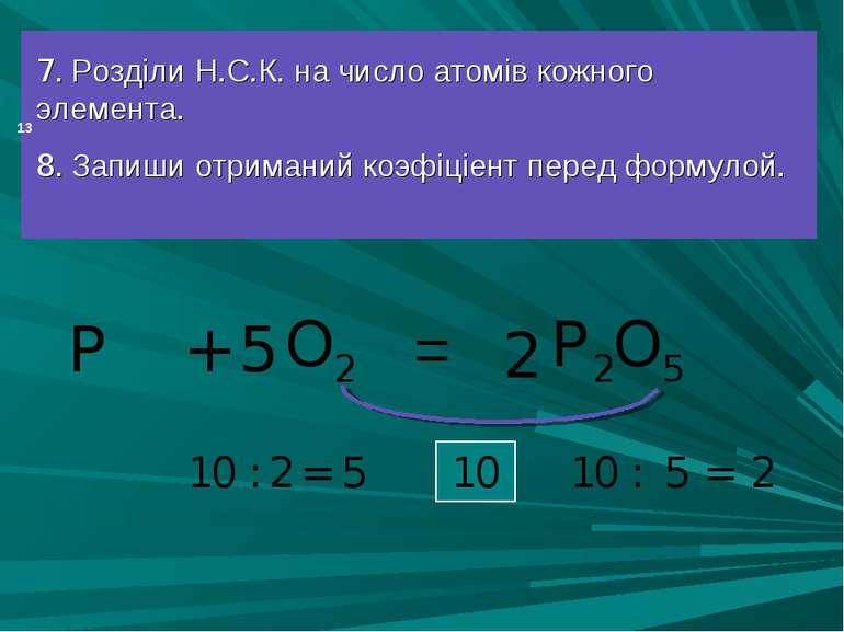 = 7. Розділи Н.С.К. на число атомів кожного элемента. 8. Запиши отриманий коэ...