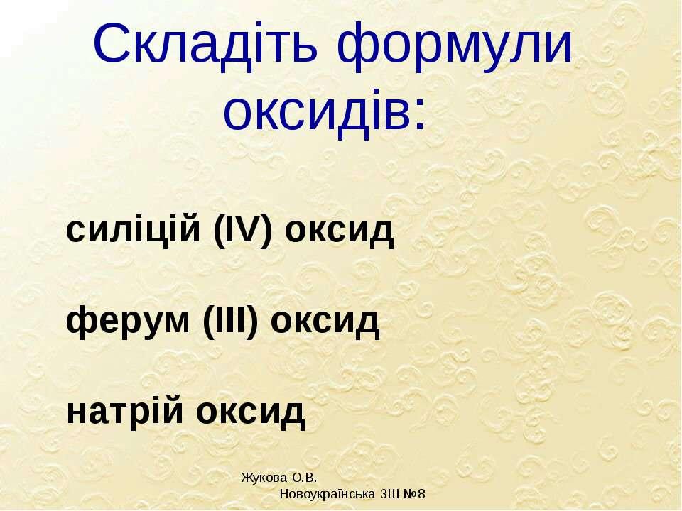 Складіть формули оксидів: силіцій (ІV) оксид ферум (ІІІ) оксид натрій оксид Ж...