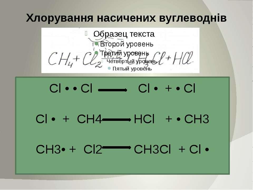 Хлорування насичених вуглеводнів Cl • • Cl Cl • + • Cl Cl • + CH4 HCl + • CH3...