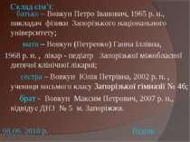 Склад сім'ї: батько – Вовкун Петро Іванович, 1965 р. н., викладач фізики Запо...