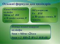 Основні формули для циліндрів Площа бічної поверхні циліндра Sбічн =2πRН де R...