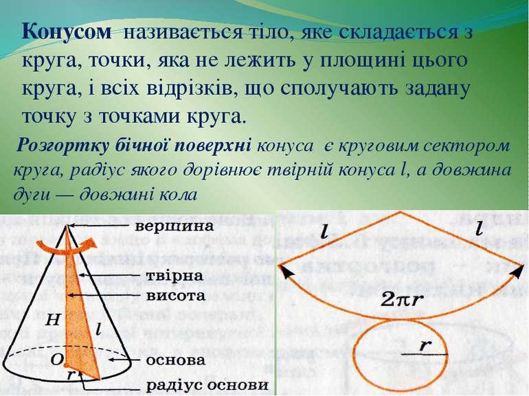 Конусом називається тіло, яке складається з круга, точки, яка не лежить у пло...
