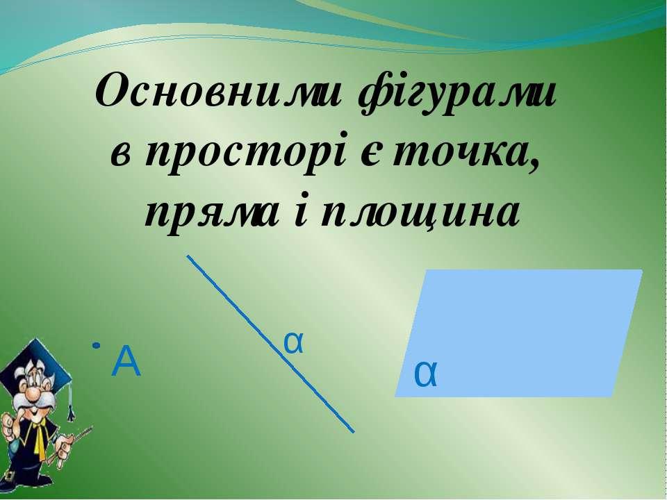 Основними фігурами в просторі є точка, пряма і площина α α A