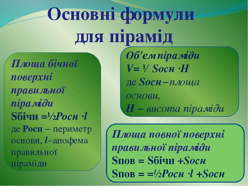 Основні формули для пірамід Площа бічної поверхні правильної піраміди Sбічн =...