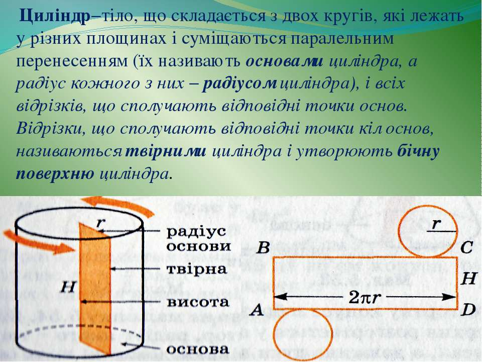 Циліндр−тіло, що складається з двох кругів, які лежать у різних площинах і су...