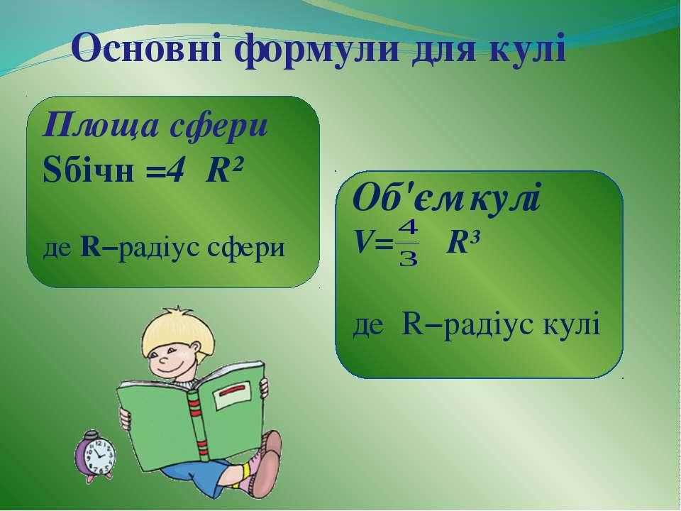 Основні формули для кулі Площа сфери Sбічн =4πR² де R−радіус сфери Об'єм кулі...
