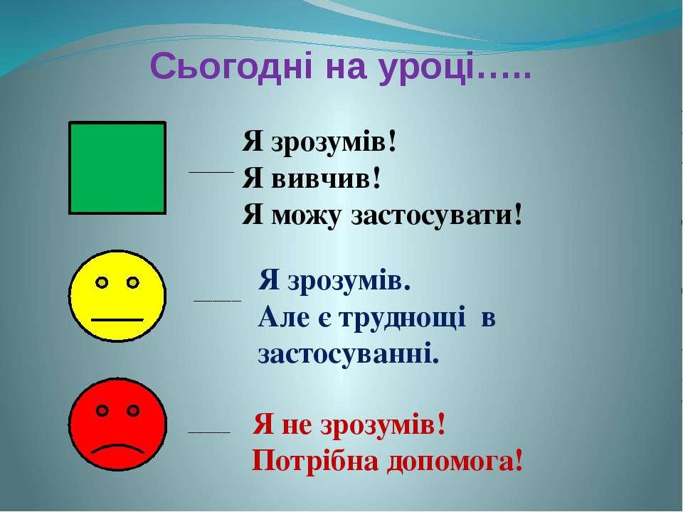 Сьогодні на уроці….. Я зрозумів! Я вивчив! Я можу застосувати! ____ Я зрозумі...
