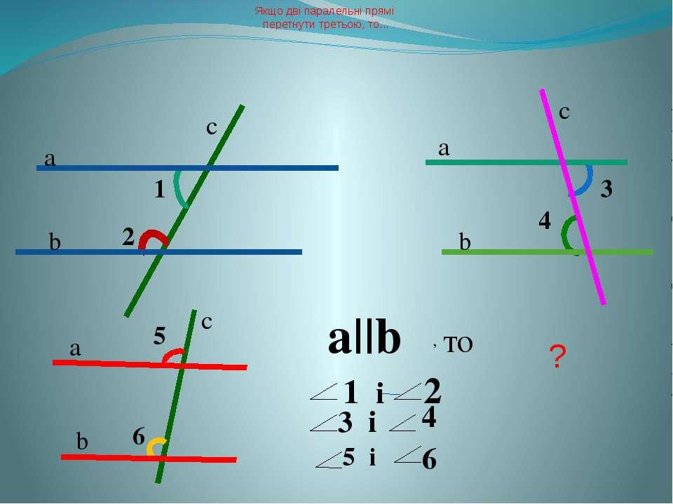 Якщо дві паралельні прямі перетнути третьою, то... ? 1 2 3 4 5 6 а b а b b a ...
