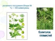 рослинного походження (більше 68 %) — 349 найменувань; болиголов плямистий