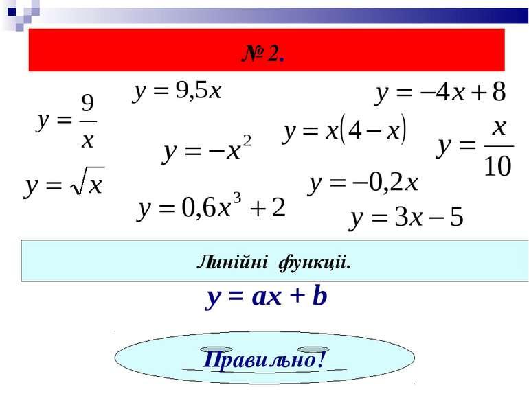 № 2. Линійні функціі. y = ах + b Правильно!