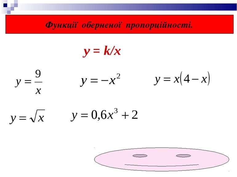 Функції оберненої пропорційності. у = k/x