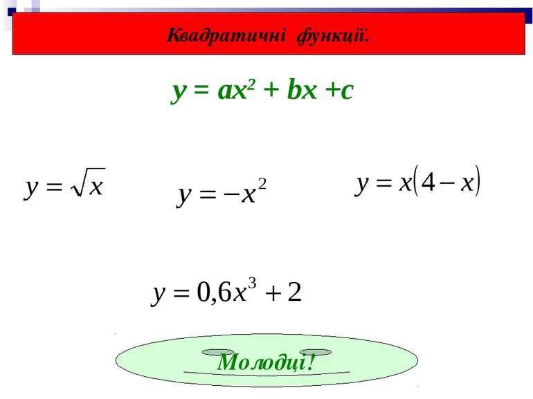 Квадратичні функції. Молодці! у = ах2 + bx +c