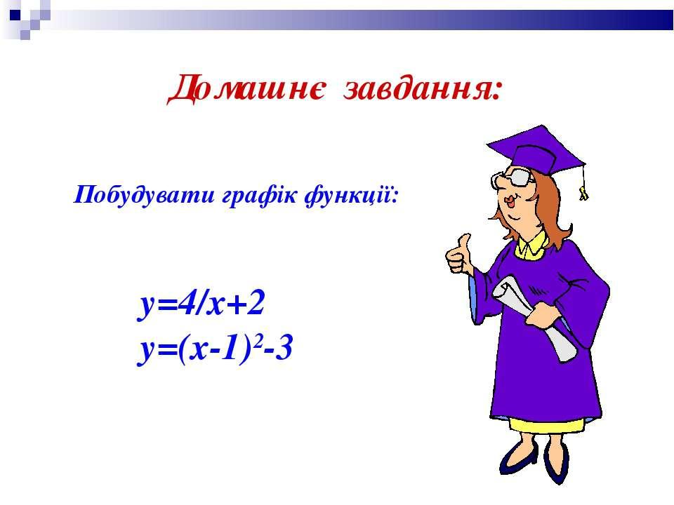 Домашнє завдання: Побудувати графік функції: y=4/x+2 y=(x-1)2-3