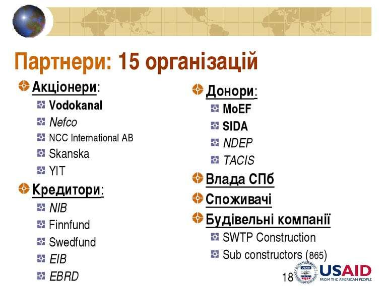 Партнери: 15 організацій Акціонери: Vodokanal Nefco NCC International AB Skan...