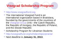 Visegrad Scholarship Program http://www.visegradfund.org The International Vi...