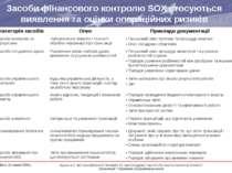 Засоби фінансового контролю SOX стосуються виявлення та оцінки операційних ри...