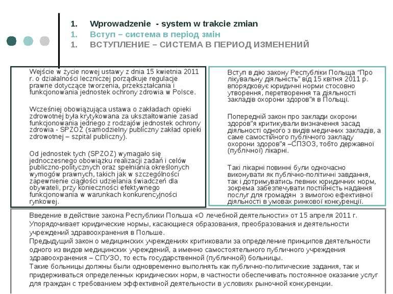 Wejście w życie nowej ustawy z dnia 15 kwietnia 2011 r. o działalności leczni...