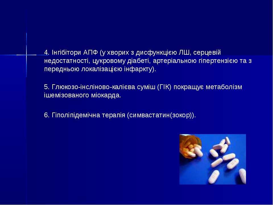 4. Інгібітори АПФ (у хворих з дисфункцією ЛШ, серцевій недостатності, цукрово...
