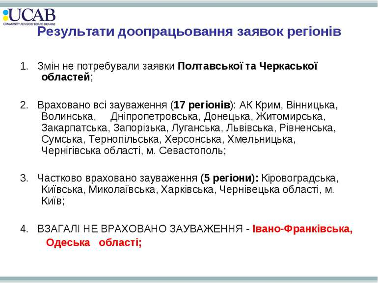Результати доопрацьовання заявок регіонів 1. Змін не потребували заявки Полта...