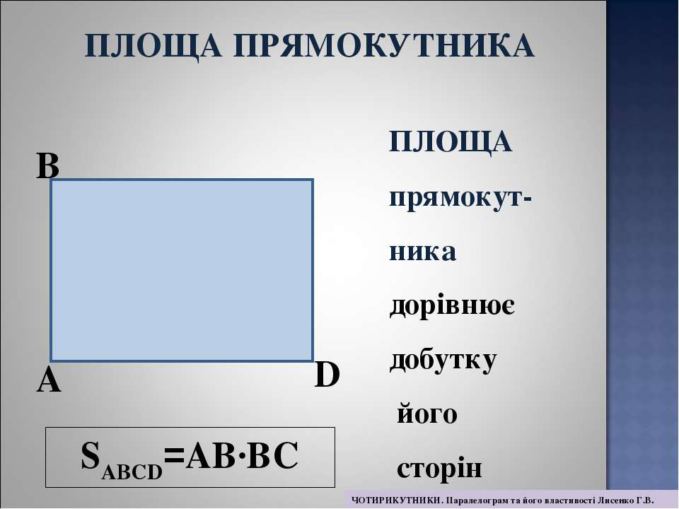 SABCD=AB·BC A B D ПЛОЩА прямокут- ника дорівнює добутку його сторін ПЛОЩА ПРЯ...