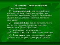 Зміст освіти (за Аристотелем) Виділив 4 блоки: 1) - пропедевтичний, підготовч...
