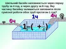 Шкільний басейн наповнюється через першу трубу за 4 год, а через другу за 6 г...