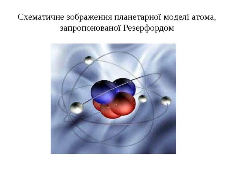 Схематичне зображення планетарної моделі атома, запропонованої Резерфордом