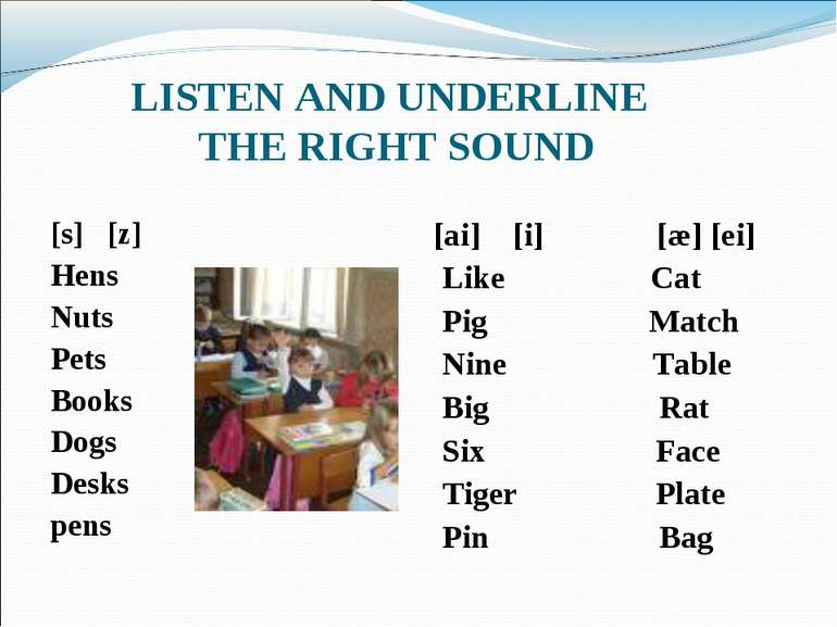 LISTEN AND UNDERLINE THE RIGHT SOUND [s] [z] Hens Nuts Pets Books Dogs Desks ...