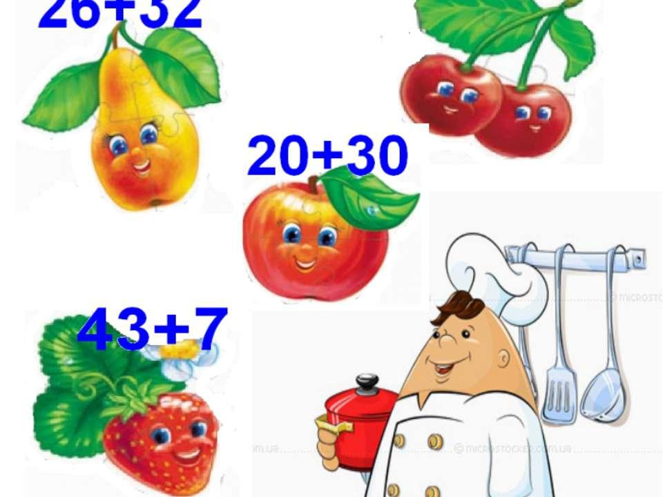 Смачний компот Завдання: щоб допомогти кухарю зварити компот, розвяжи приклади.