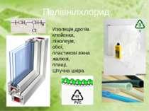 Полiвнiлхлорид Изоляцiя дротiв. клейонка, лiнолеум, обої, пластиковi вiкна жа...