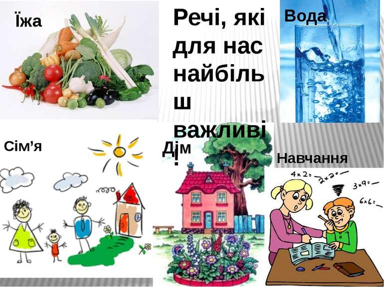 Речі, які для нас найбільш важливі! Їжа Сім'я Вода Дім Навчання