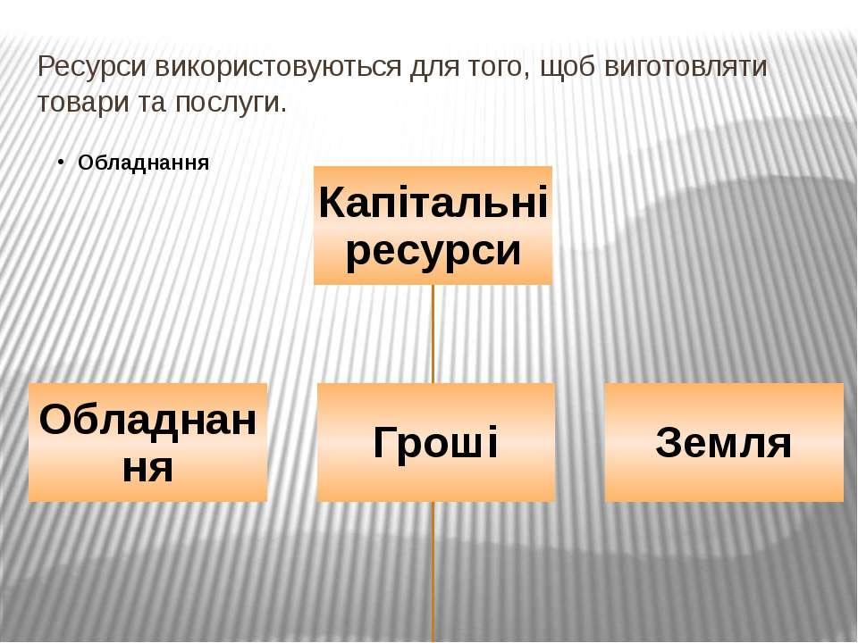 Ресурси використовуються для того, щоб виготовляти товари та послуги.