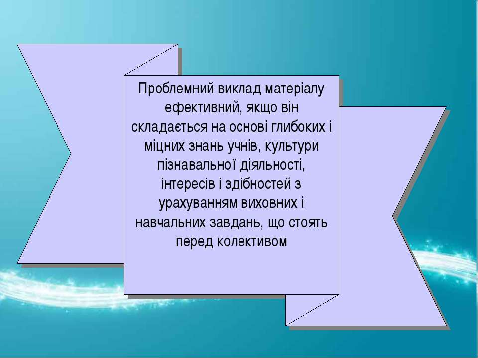 Проблемний виклад матеріалу ефективний, якщо він складається на основі глибок...
