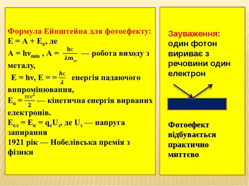 Зауваження: один фотон вириває з речовини один електрон Фотоефект відбуваєтьс...