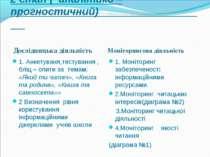 2 етап ( аналітико – прогностичний) Дослідницька діяльність Моніторингова дія...
