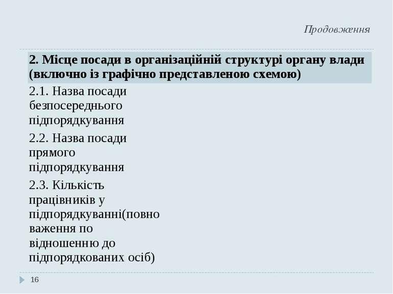 Продовження * 2. Місце посади в організаційній структурі органу влади (включн...