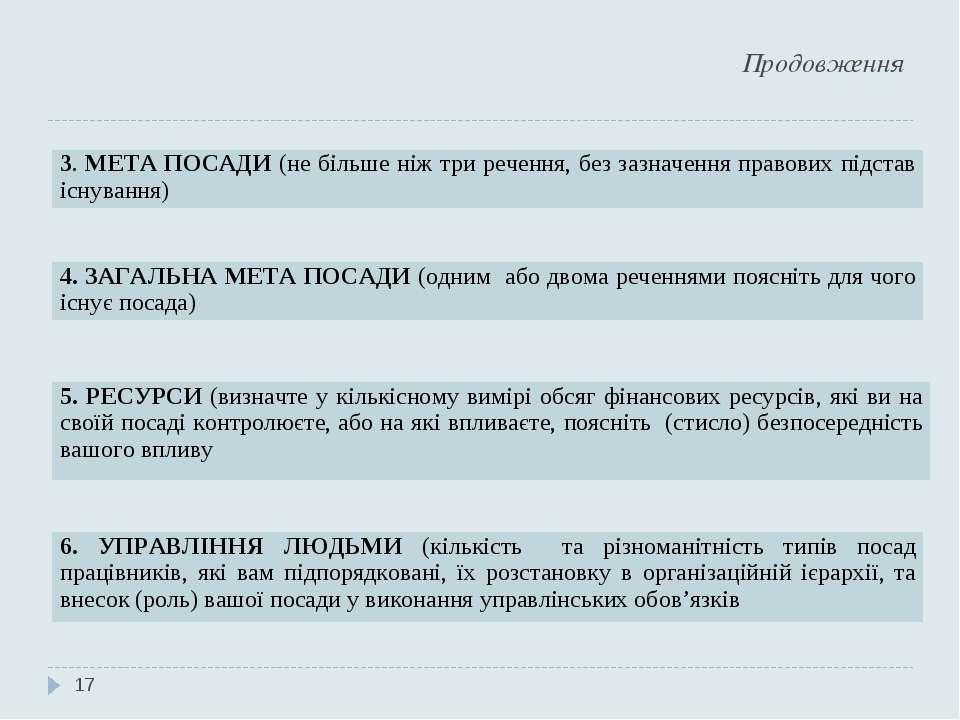 Продовження * 3. МЕТА ПОСАДИ (не більше ніж три речення, без зазначення право...