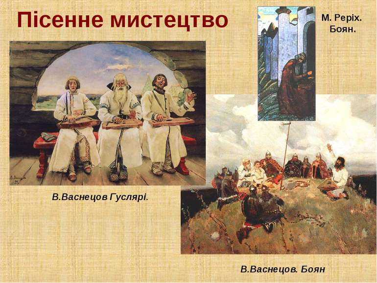 Пісенне мистецтво В.Васнецов Гуслярі. В.Васнецов. Боян М. Реріх. Боян.