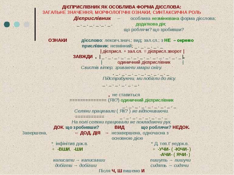 ДІЄПРИСЛІВНИК ЯК ОСОБЛИВА ФОРМА ДІЄСЛОВА: ЗАГАЛЬНЕ ЗНАЧЕННЯ, МОРФОЛОГІЧНІ ОЗН...