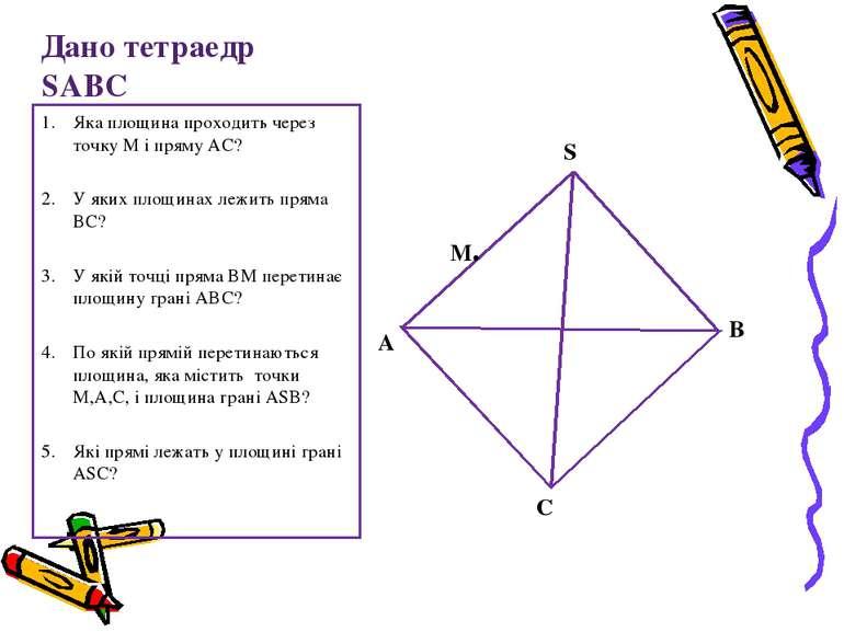 Дано тетраедр SABC Яка площина проходить через точку М і пряму АС? У яких пло...