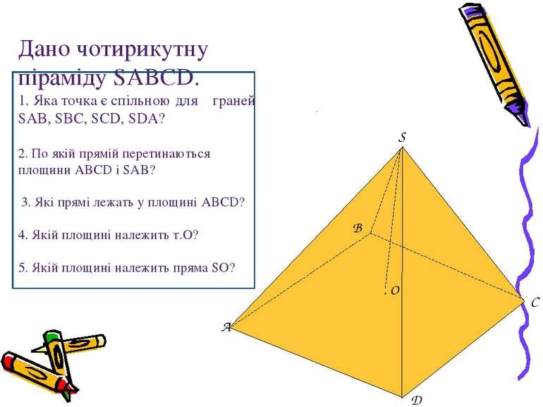 Дано чотирикутну піраміду SABCD. 1. Яка точка є спільною для граней SAB, SBC,...