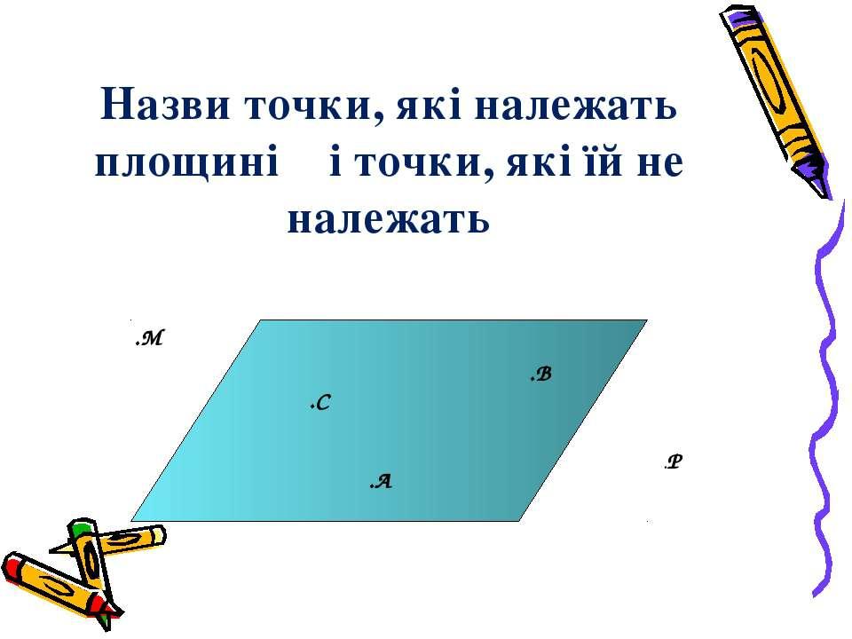 Назви точки, які належать площині α і точки, які їй не належать α .А .В .С .М .Р