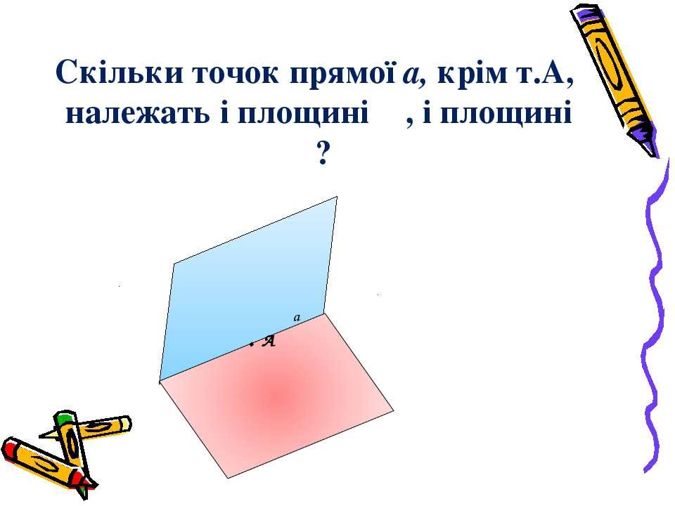 Скільки точок прямої а, крім т.А, належать і площині α , і площині β? α β а . А