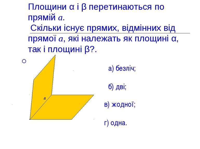 Площини α і β перетинаються по прямій а. Скільки існує прямих, відмінних від ...