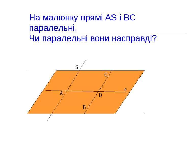 На малюнку прямі AS і ВС паралельні. Чи паралельні вони насправді? в А S В D C α