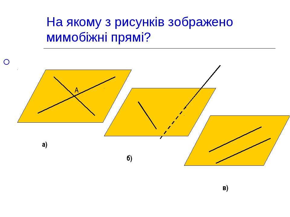На якому з рисунків зображено мимобіжні прямі? А А а) б) в) .