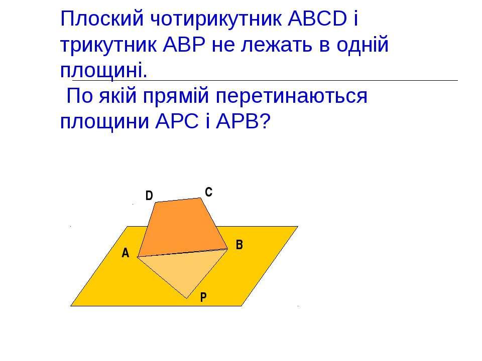 Плоский чотирикутник ABCD і трикутник АВР не лежать в одній площині. По якій ...