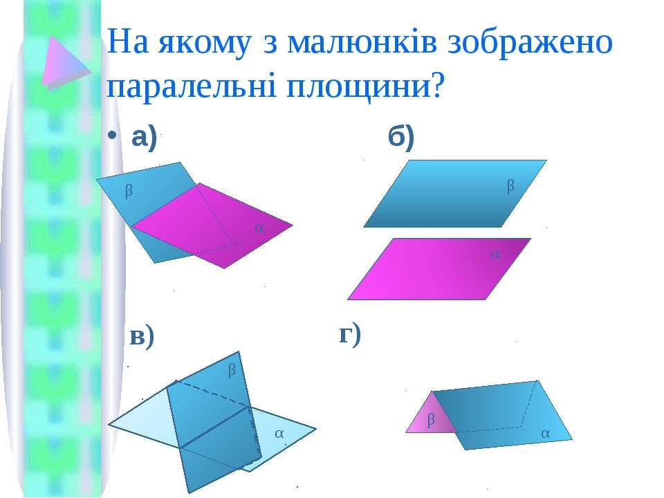 На якому з малюнків зображено паралельні площини? а) б) я α β α β в) α β г) β α
